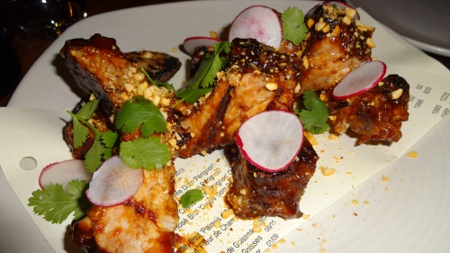 Grilled Pork Ribs with Hoisin BBQ Sauce, Peanuts, and Radish (8/10).