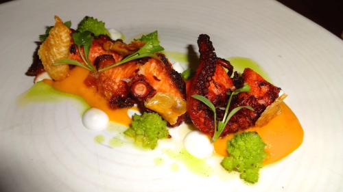 Crispy Octopus. with Carrot Romanesco, Tamarind, and Coconut (8/10).