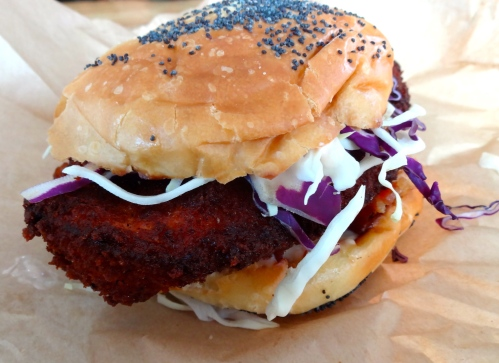 Bacon Crusted Fried Chicken Sandwich with Spicy Slaw and Bacon Mayonnaise.
