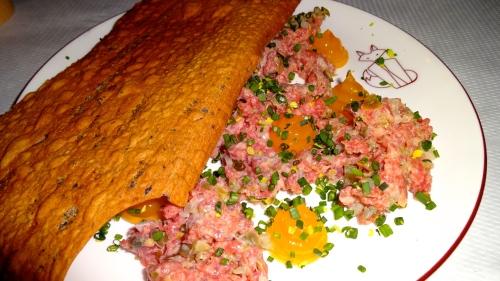Steak Tartare with Egg Yolk and Pissaladiere Lavash (8/10).