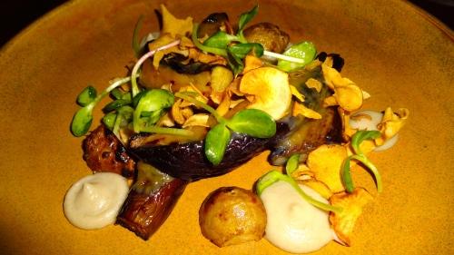 Miso Glazed Eggplant with Sunchoke Purée and Sunchoke Chips (8/10).