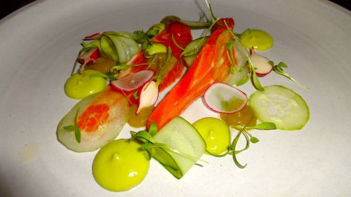 Hickory Smoked Ocean Trout with Tomatillo, Avocado, Baby Radishes, and Pasilla Pepper (8/10).