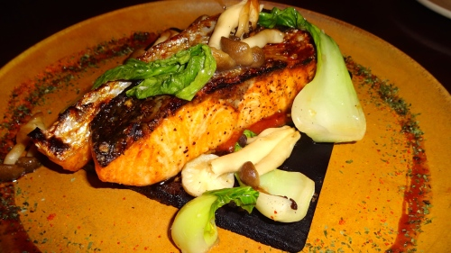 Cedar Plank Roasted Salmon with Miso, Bok Choy, and Shimeji Mushrooms (7/10).
