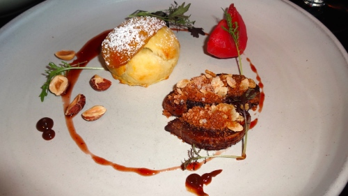 Foie Gras with Plum stuffed Onion Bun, Hazelnuts, and Hibiscus Apple (9/10).