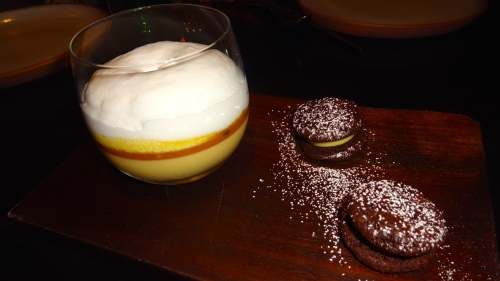 Passionfruit Panna Cotta with Caramel and Coconut Spuma with Chocolate Passionfruit Sandwich (8/10).