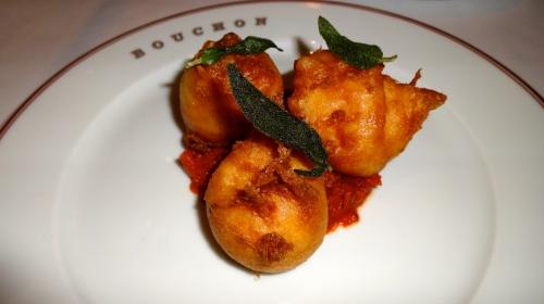 Beignets de Brandade de Morue: Cod Brandade with Tomato Confît and Fried Sage (8/10).