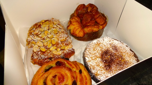 Almond Chocolate Croissant (8/10), Pain au Raisin (7/10), Coffee Cake (7/10), and Monkey Bread (9/10).