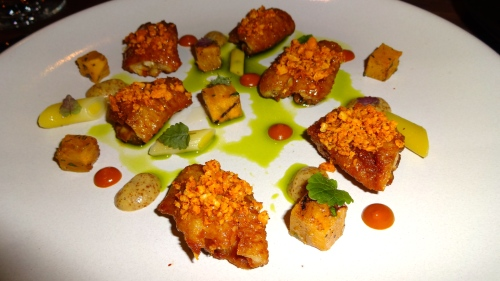 Chicken Wings, Persimmon, Almond, Mustard, Green Garlic, and Honey (8.5-9/10).
