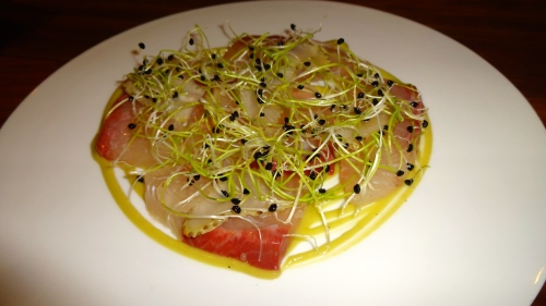 Kanpachi, Green Strawberry, Radish, and Onion Sprouts (8.5/10).