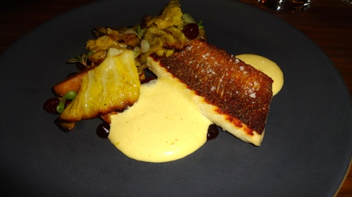 Branzino, Potato, Cabbage, Cranberry, and Mussel Emulsion (8.5-9/10).