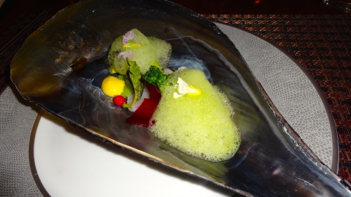 Tairagai: Japanese Razor Clam with Beetroot, Radish, and Sabayon (8/10).