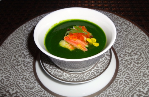 Zuwaigani: Snow Crab Chawanmushi with Spinach Coulis (7/10).