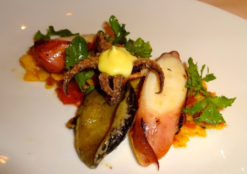 Octopus Salad with Fried Calamari, Abalone, and Vegetables (7/10).