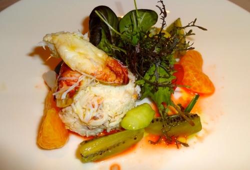 Dungeness Crab and Avocado Salad with Kiwi and Mandarin Segments (7.5/10).