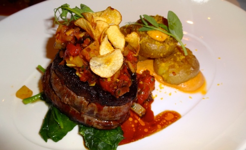 Wood Oven Roasted Filet Mignon with Smashed Potatoes, Oven Roasted Tomatoes, and Sautéed Spinach (7/10).