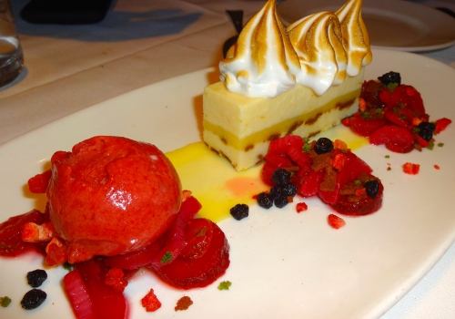 Meyer Lemon Icebox Cake with Toasted Meringue and Strawberry Sorbet (7.5-8/10).