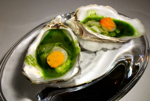 Amuse Bouche: Hama Hama Lightly Poached Oysters with Green Garlic and Jicama (8/10).