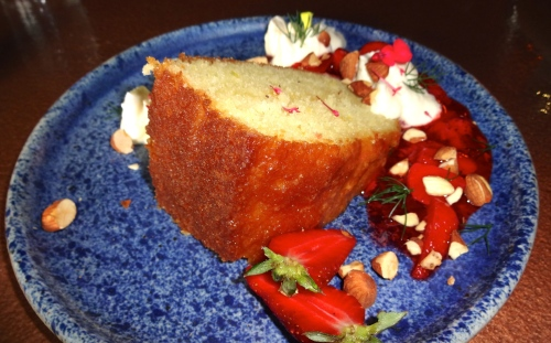 Olive Oil Tea Cake with Whipped Crème Fraîche and Strawberry Compote (7.5/10).