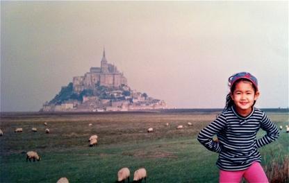 Little Me at Mont Saint-Michel.