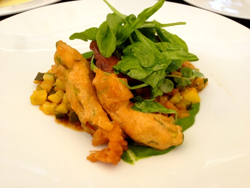 Lamb with Fried Zucchini Flowers and Vegetables (7/10).