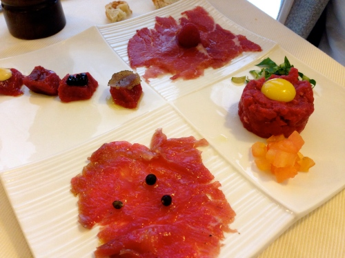 Beef Carpaccio and Beef Tartare.