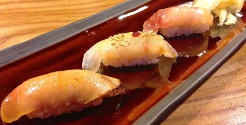 Sushi Prelude: Zuke Chutoro/Lightly Seared Medium Fatty Tuna Nigiri (9/10) and Two Seasonal Sushi of the Day (8.5/10).