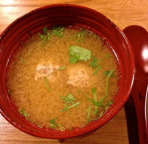 Duck Dumplings in Miso Soup with Mitsuba (8/10).
