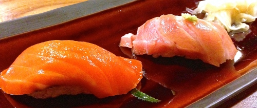 Copper River Wild Alaskan Salmon Nigiri (8.5/10) and Toro/Bluefin Fatty Tuna Nigiri (9.5/10).