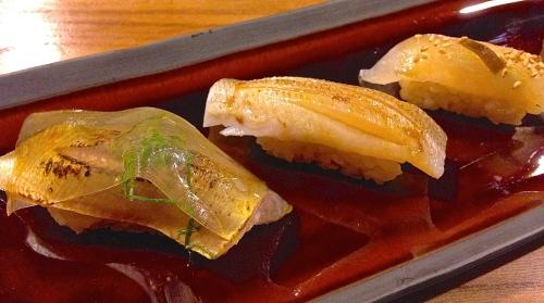 À la Carte Sushi: Ayu/Sweetfish Nigiri with Seaweed Gel and Mitsuba (8/10), and