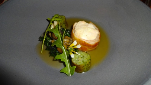 Rabbit Loin with Snails, Stinging Nettles, and Green Garlic (8.5-9/10).