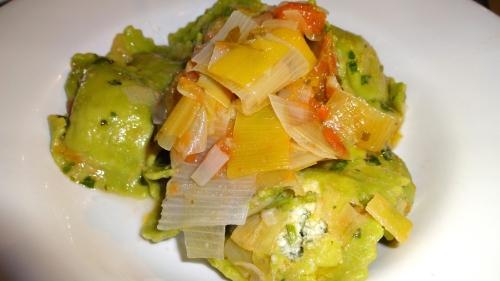 Ravioli Verdi con Porri (Green Ravioli with Leeks).