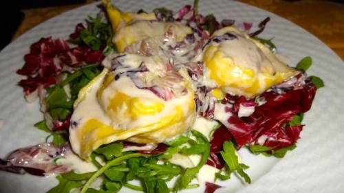 Tortellacci con Radicchio e Gorgonzola (Tortellacci with Radicchio and Gorgonzola Cheese Fondue).