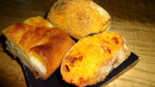 Focaccia, Tomato Bread, and Kamut Bread.