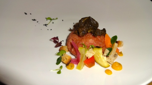 Beef Tartare with Buffalo Milk Cheese, Mixed Garden Vegetables, and Cumin Emulsion (7/10).