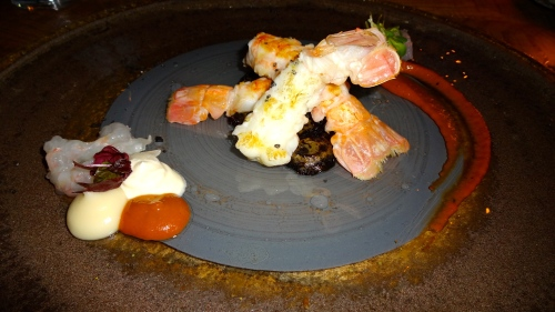 Roasted Langoustine with Sea Urchin, Jerusalem Artichoke and Coal, and Crème Fraîche (7.5/10).