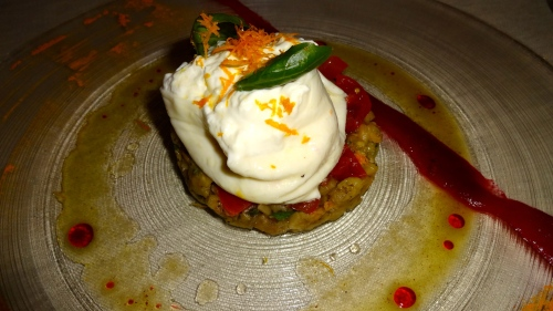 Burrata Cheese with Eggplant Mash and Datterino Tomatoes (8/10).
