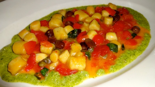 Potato Gnocchi made with Quinoa Cereal Flour with Tomatoes, Olives, and Capers in a Celery Pesto (8.5/10).
