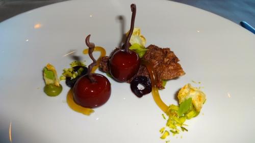 Duck Liver Cherries with Coeur de Guanaja, Celery, and Pumpernickel (8.5/10).