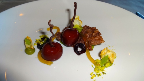 Duck Liver Cherries with Coeur de Guanaja, Celery, and Pumpernickel (8.5/10).