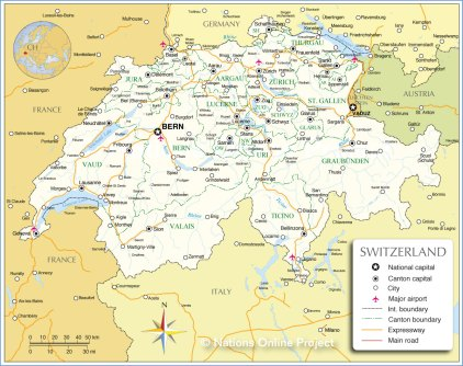 Map of Switzerland.