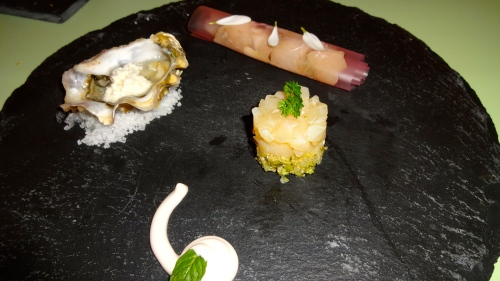 Fish Tartare, Oyster, and Seabass Carpaccio (6/10).