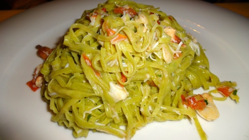 Tagliolini Verde with Crab and Tomatoes (7.5/10).