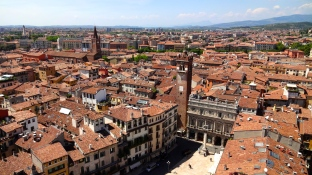 View of Piazza delle Erbe from the Tower.