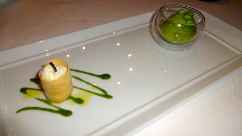 Amuse Bouche: Pea Sorbet with Burrata Cheese Cannolo and Basil Sauce (6.5-7/10).