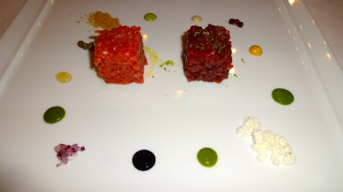 Duo of Tartare: Beef Tartare and Tuna Tartare with Various Condiments (8/10).