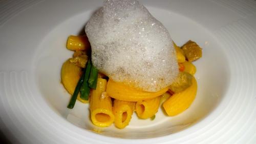 Homemade Maccheroni with Pork Shoulder Ragù, Asparagus, and Parmigiano Reggiano Cheese Foam (8/10).