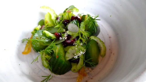 Cucumber, Cherries, Preserved Meyer Lemon, Avocado, and Coriander (8/10).