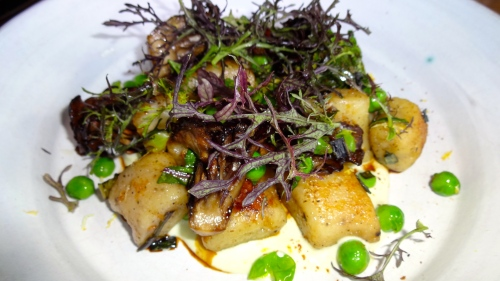 Black Pepper Potato Dumplings, Maitake Mushrooms, Peas, and Turnip (7.5-8/10).