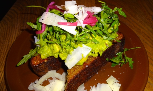 Avocado Toast with Pickled Onions, Arugula, and Shaved Pantaleo Cheese (8.5/10).