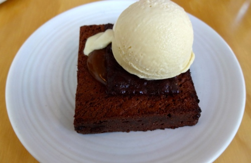 Warm Brownie with Peanut Butter Ice Cream and